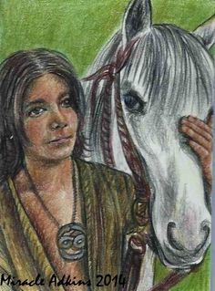 ACEO NEVERENDING STORY Atreyu & Artax 80's Movie Portrait Card by Miracle #Miniature