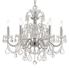 Crystorama Solid Brass Crystal Chandelier Accented with Swarovski Spectra Crystal 6 Lights - Polished Chrome - 3226-CH-CL-SAQ