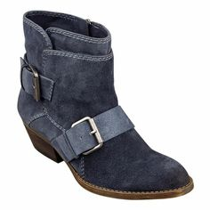 "Nine West - Biker chic almond toe 1 1/4"" bootie with buckle hardware.  Side zipper closure.  Leather upper."