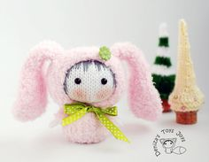Pink Bunny Doll. Tanoshi series toy.  pdf knitting by deniza17, $5.00