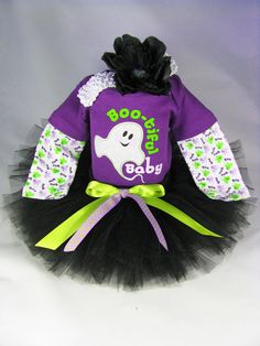 "Babys First Halloween Outfit  "" Boo-tiful Baby Ghost"" - Girls Halloween Tutu Bodysuit and Headband Set - Size 0-3 Months on Etsy, $38.00"