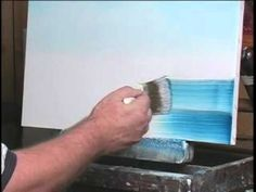 How to Paint Water - A Quiet Lake . Note how little paint he has on his brush.