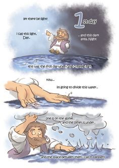 creation day by kokecit on DeviantArt Christian Comics, Christian Cartoons, Christian Quotes, Bible Art, Bible Quotes, Bible Verses, Bible Stories For Kids, Bible For Kids, Jesus Cartoon