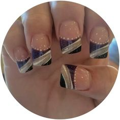 Purple and white glitter powder. Contemporary nails