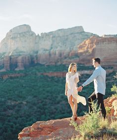 Engagement Pictures long flowy dresses are great -- love the movement! - Engagement photos showing off the beautiful landscape of Sedona at Rachel's Knoll Mountain Engagement Photos, Country Engagement, Engagement Couple, Engagement Pictures, Engagement Shoots, Fall Engagement, Couple Photography Poses, Engagement Photography, Wedding Photography