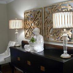 Gold Capiz Mirrors, Asian, dining room, Benjamin Moore Grant Beige