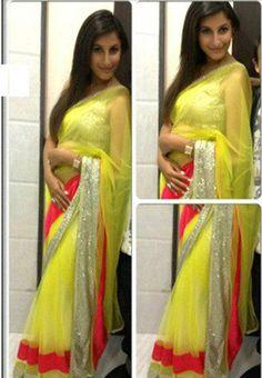 Yellow Color Net Saree - Rs. 1750.00