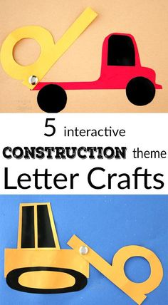Letter crafts to go with the story Goodnight, Goodnight, Construction Site. Free templates for a bulldozer, backhoe, dump truck, crane, and excavator. Abc Crafts, Alphabet Crafts, Letter A Crafts, Toddler Crafts, Preschool Crafts, Kids Crafts, Alphabet Art, Toddler Play, Letter Art