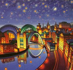 Starry Tyne - Jim Edwards The legendary culture crawl returns to Newcastle Gateshead in May. This years Late Shows is even bigger and b. Gateshead Millennium Bridge, Newcastle Gateshead, Northumberland Coast, Naive Art, Art Techniques, Landscape Paintings, Landscapes, England, Abstract
