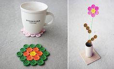 manualidades con botones posavasos y flores