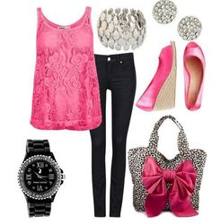 outfit: pink, black & grey  I'm bascially in love with this outfit!