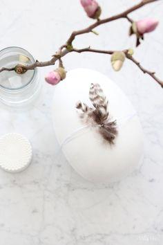 Innostuin yks ilta tuunaamaan vanhan pahvisen pääsiäismunan valkoisella maalilla. Maalasin värikkään tipuaiheisen munan kahteen k...