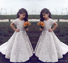 Lace Flower Girl Dresses For Wedding Vintage Jewel Short Sleeves A Line Girls Pageant Dress Sweep Train Kids Birthday Prom Dress Formal Wear Flower Girl Dresses Girls Pageant Dress Kids Prom Dress Online with 89.0/Piece on Click_me's Store | DHgate.com