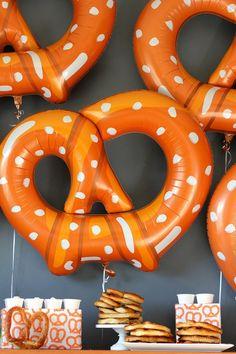 soft pretzels galore for oktoberfest Oktoberfest Party, A Little Party, Party Decoration, Soft Pretzels, Ideas Geniales, Throw A Party, Holiday Parties, Party Time, Party Fun