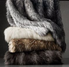RH's Exotic Faux Fur Throw - Siberian Grey Fox:Our Exotic Faux Fur throw captures the wild beauty of genuine fur with its lush, long-hair finish. Expert weaving and coloring techniques re-create the subtly variegated tones and tipped ends characteristic o Faux Fur Blanket, Faux Fur Throw, Grey Fur Throw, Gray Bedroom, Trendy Bedroom, Master Bedroom, My New Room, My Room, Hygge