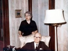 Former President Harry S. Truman with Bess W. Truman in their home on Mr. Truman's birthday, May 8, 1968