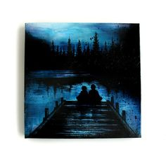ORIGINAL PAINTING  Sitting By The Dock  12 x 12 by MadLoveShop, $300.00