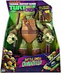 Name: Battle Shell Donatello Action Figure Manufacturer: Playmates Series: Nickelodeon Teenage Mutant Ninja Turtles  Release Date: July 2012 For ages: 4 and up Details (Description): Teenage Mutant Ninja Turtles with the all-new Epic TV Series debuting in Fall 2012 on Nickelodeon. Large 11 inch Turtle Figures! Each Turtle is individually sculpted, has multiple articulation points with signature and secondary accessories plus the back shell opens up to allow a place to store the weapon…