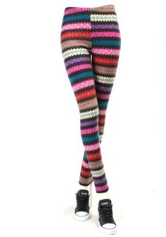 ililily Zig-zag Multi-color Pattern Fleece Lined Winter Leggings Full length Stretch Skinny Pants (leggings-032-2) ililily. $29.99