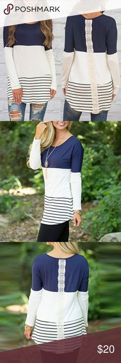 Long Sleeve Tunic Navy blue, long sleeve, tunic-style top. Striped detail with lace on the back. Beautiful for the fall/winter season. ☃️ Tops Tunics