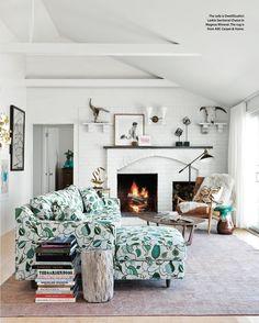 Patterned Sofa w/ White Brick Walls