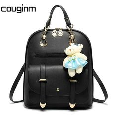 dd991151a7a4 Fashion Teenager Schoolbag Backpack High Quality PU Leather Bear Women  Backpack Female Laptop Rucksacks For Girl Motorcycle Bag