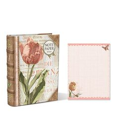Take a look at this Linen Tulips Embellished Note Paper Book Box by Punch Studio on #zulily today!