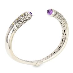 Amethyst Sterling Silver Bangle with 18K Gold Accents | Cirque Jewels