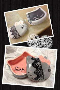 Pottery Paint Job #006 pink and gray Hello Kitty ceramic box with hand painted black lace