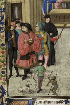Jester and monkey..       Giovanni Boccaccio, translated by Laurent de Premierfait Title	De casibus virorum illustrium in French translation (Des cas des ruynes des nobles hommes et femmes) Origin	Netherlands, S. (Bruges) Date	c. 1479-c.1480 Language	French