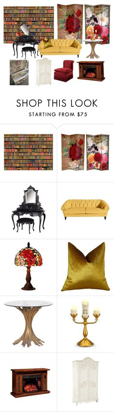 """Beauty and the beast living room"" by kateneuer on Polyvore featuring interior, interiors, interior design, home, home decor, interior decorating, 1Wall, Plutus, Disney and DutchCrafters"