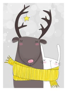cute scarf reindeer and bunny illustration
