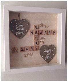 New home scrabble frame with large quote heart and embellishments family home sweet home scrabble tiles Más Scrabble Tile Crafts, Scrabble Frame, Scrabble Art, Scrabble Ornaments, Hobbies And Crafts, Crafts To Sell, Homemade Gifts, Diy Gifts, Decoupage