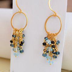 NEW Gemstone Earrings London Blue Topaz Black por livjewellery