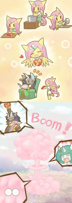#1092692 - anthro, artist:howxu, baking, box of chocolates, chibi, discord, explosion, fluttershy, mushroom cloud, newspaper, princess celestia, safe - Derpibooru - My Little Pony: Friendship is Magic Imageboard