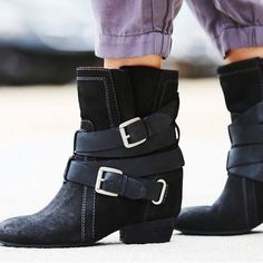 Black Suede Leather Hidden Wedge Ankle Boots