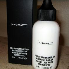 MAC Pro Performance HD Airbrush Makeup NEW Brand New in the box white  This Silicon-based Airbrush Formula for face and body, developed expressly for Makeup Artists working in High Definition TV, film, and beauty. This fluid, highly pigmented formula can be poured directly into the airbrush gun or diluted with the cleanser. MAC Cosmetics Makeup