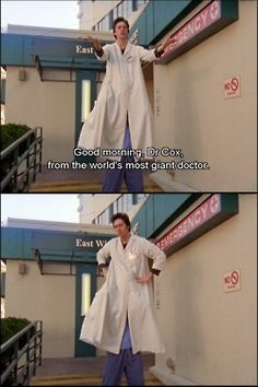 World's most giant doctor. Turk And Jd, Scrubs Quotes, Scrubs Tv Shows, Dr Cox, Good Funny Movies, Doctor Scrubs, I Cant Do This, Medical Humor, Just For Laughs