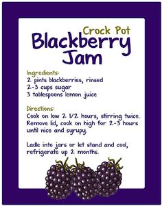 Crockpot Blackberry Jam- I've always wanted to try making my own!