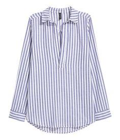 V-ringad blus | Blå/Vit randig | Dam | H&M SE