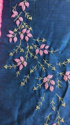 new brazilian embroidery design Saree Embroidery Design, Embroidery On Kurtis, Hand Embroidery Videos, Hand Embroidery Flowers, Hand Work Embroidery, Flower Embroidery Designs, Simple Embroidery, Hand Embroidery Stitches, Silk Ribbon Embroidery