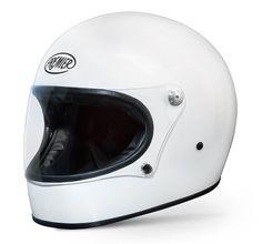 PREMIER Trophy - retro full face helmet by PREMIER in white-glossy. Clear flat visor.