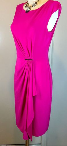 SALE! Anne Klein Ruched Hot Pink Faux Wrap Stretch Dress 12 BNWT RRP£95