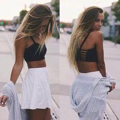 @barbphythian    Ootd   summer look Teen girl fashion Croptop White skirt Cardi Brandy Melville