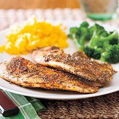 Cajun Blackened Tilapia Recipe Main Dishes with pepper, cayenne, celery salt, paprika, garlic powder, dried thyme, tilapia fillets, unsalted butter