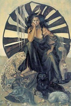 Goddess Laochra~Laochra is the goddess of female warriors and leaders, as well as the unrealized potential in all beings, and embodies the power of a woman. Her symbols are jewelry, the sword, and her sacred animals are all big cats. She believes the cat is the perfect example of the grace and power of women. art credit: by Leonor Fini