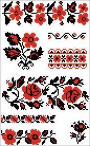 Черно-красные крестиком вышивки