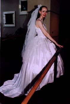 Full length view of FSL01 with a veil I designed and made. 1996.  Modeled by Laurel A. Rockefeller.