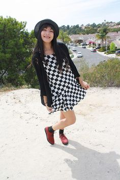 Forever 21 Spiked Hat, Forever 21 Checkered Dress, H Red Platforms