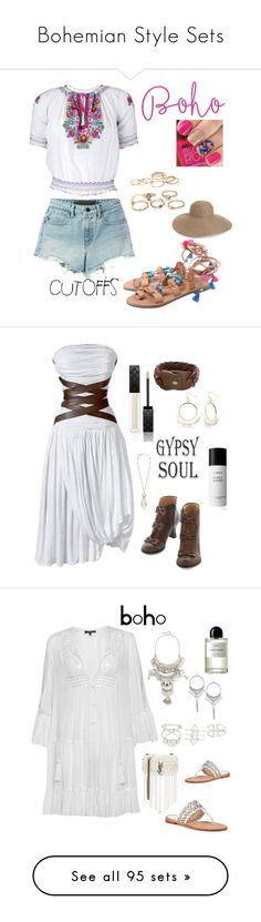 """""""Bohemian Style Sets"""" by im-karla-with-a-k ❤ liked on Polyvore featuring T By Alexander Wang, Eric Javits, jeanshorts, denimshorts, cutoffs, Balmain, Gucci, HTC, Red Camel and Byredo"""